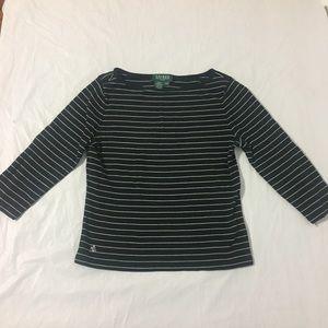 Ralph Lauren Petite 3/4 Sleeve Striped Top